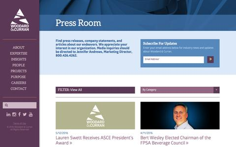 Screenshot of Press Page woodardcurran.com - Press Room - captured Aug. 14, 2016
