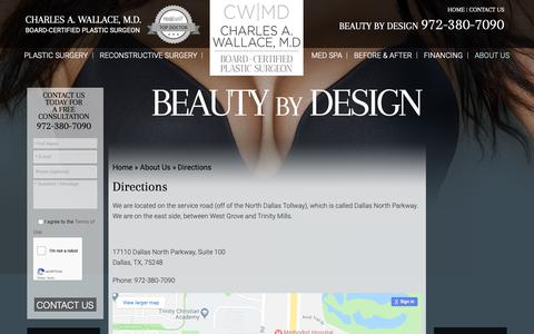 Screenshot of Maps & Directions Page drwallace.com - Plastic Surgery Office Directions Dallas | Patient Resources Plano - captured Sept. 27, 2018