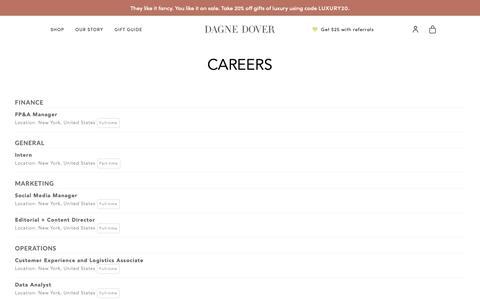 Screenshot of Jobs Page dagnedover.com - Careers - Dagne Dover - captured Dec. 7, 2018