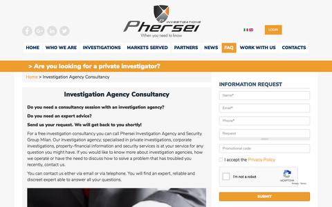 Screenshot of FAQ Page phersei.com - Investigation agency consultancy | Phersei srl - captured July 17, 2018