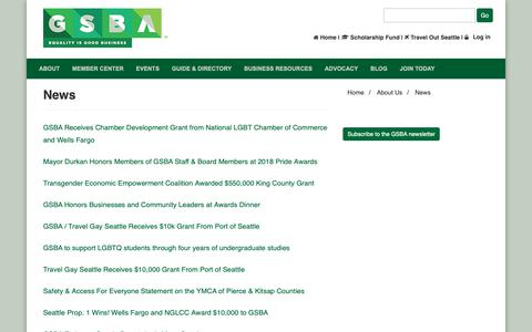 Screenshot of Press Page thegsba.org - GSBA News - captured Oct. 26, 2018