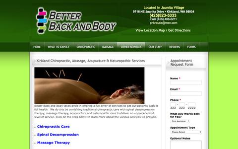 Screenshot of Services Page betterbackandbody.com - Kirkland Acupuncture - Massage Therapists in Kirkland - Kirkland Chiropractic Care - Kirkland Naturapathy - captured Feb. 12, 2016