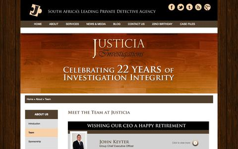 Screenshot of Team Page justicia.co.za - Meet The Team | Justicia Investigations - captured Oct. 6, 2014