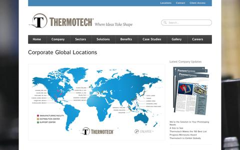 Screenshot of Locations Page thermotech.com - Locations - Precision Injection Molding and Assembly - captured Oct. 7, 2014