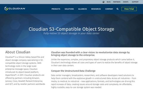 Screenshot of About Page cloudian.com - Cloudian S3-Compatible Object Storage | Cloudian - captured June 19, 2019