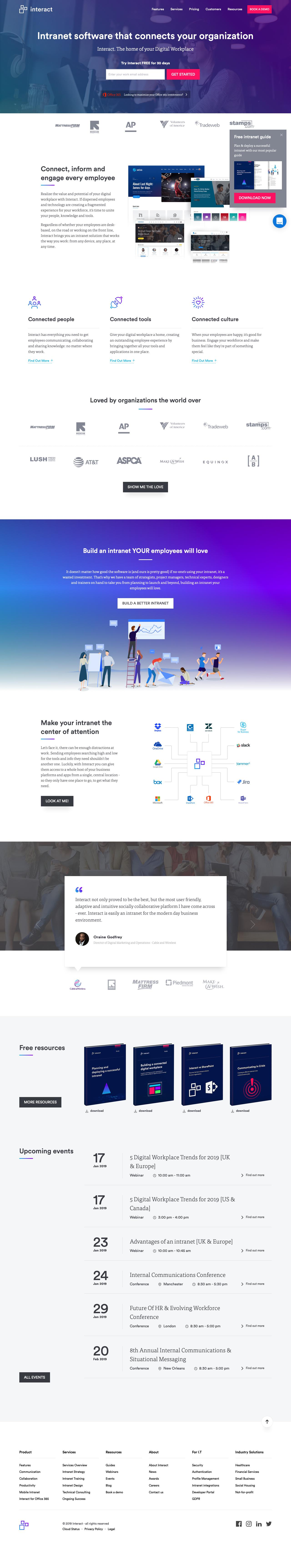 Screenshot of interact-intranet.com - Intranet Software That Connects Your Organization | Interact Software - captured Jan. 8, 2019