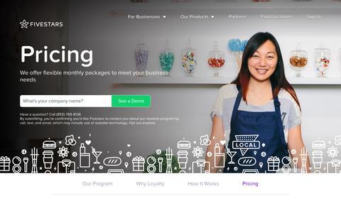 Screenshot of Pricing Page fivestars.com - Pricing - Fivestars - captured April 5, 2018
