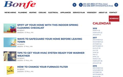 Screenshot of Blog bonfe.com - This is the official Blog of Bonfe Heating and Cooling serving greater Minneapolis and St. Paul   St Paul, Minnesota 55075   Bonfe - captured April 10, 2018