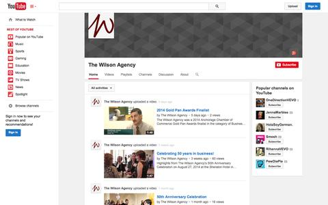 Screenshot of YouTube Page youtube.com - The Wilson Agency  - YouTube - captured Oct. 26, 2014