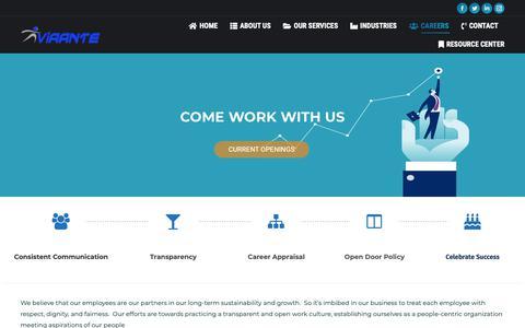 Screenshot of Jobs Page viaante.com - Careers - BPO Jobs - Outsourcing Jobs| Data Processing Career - Viaante - captured Nov. 19, 2018