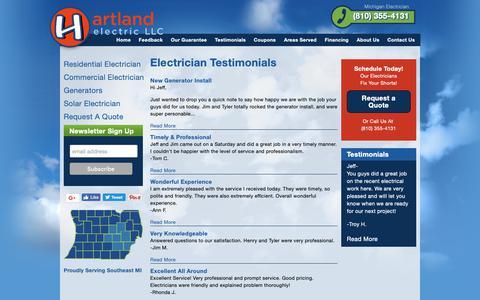 Screenshot of Testimonials Page hartlandelectric.com - Electrician Testimonials   Hartland Electric, a Michigan Electrician - captured Sept. 27, 2018