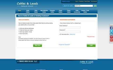 Screenshot of Login Page cables-leads.co.uk - Customer Login - captured Sept. 26, 2014