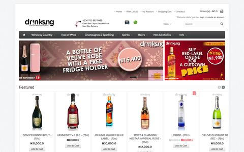 Screenshot of Home Page drinks.ng - Drinksng| Explore from our great Range of Drinks - captured Sept. 19, 2014