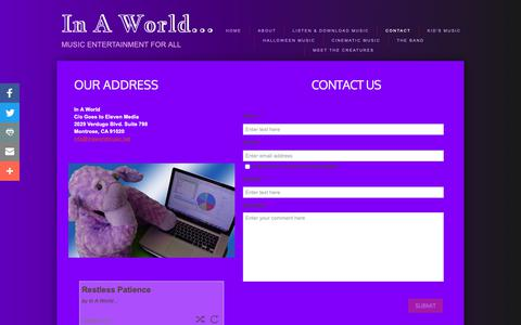 Screenshot of Contact Page inaworldmusic.net - Contact - captured Nov. 11, 2018