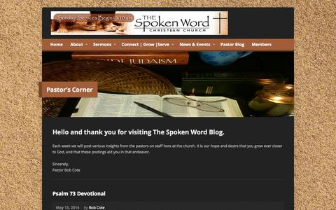 Screenshot of Blog thespokenwordchurch.com - Pastor's Corner - Spoken Word Christian Church - captured Oct. 6, 2014