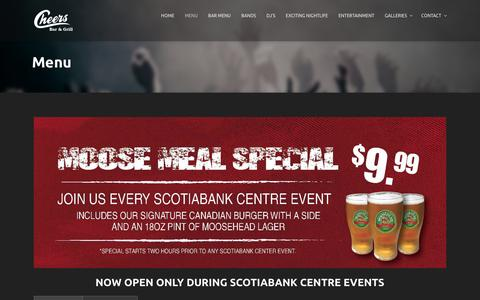 Screenshot of Menu Page cheershalifax.ca - Cheers Bar & Grill | Cheers Bar & Grill - captured March 15, 2016