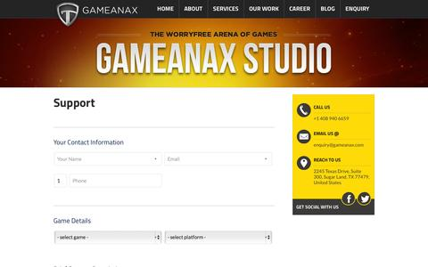 Screenshot of Support Page gameanax.com - Support - - captured Sept. 25, 2014