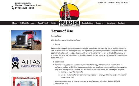 Screenshot of Terms Page oilfield-construction.com - Terms of Use - captured Feb. 2, 2016