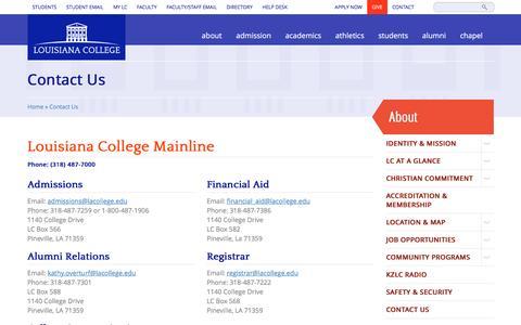 Screenshot of Contact Page lacollege.edu - Contact Us   Louisiana College - captured Jan. 31, 2016