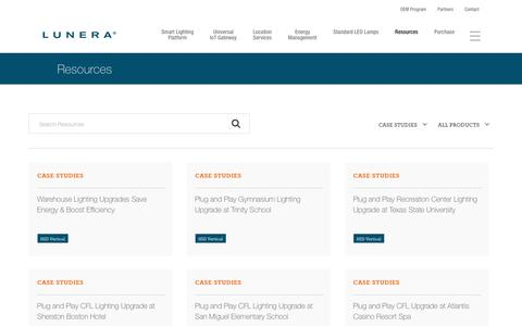 Screenshot of Case Studies Page lunera.com - Resources   Lunera - captured Sept. 30, 2018