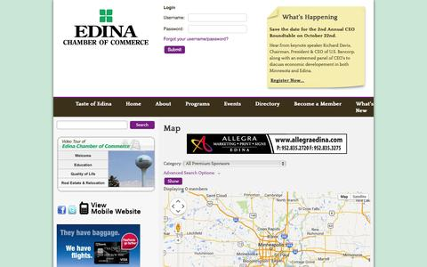 Screenshot of Maps & Directions Page edinachamber.com - Map - Default - Edina Chamber of Commerce - captured Oct. 2, 2014