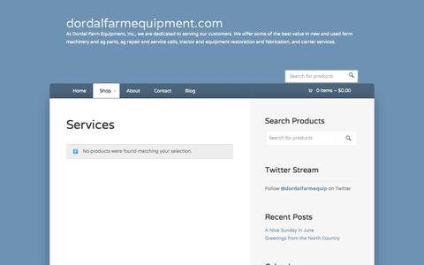 Screenshot of Services Page dordalfarmequipment.com - Services Archives | dordalfarmequipment.comdordalfarmequipment.com - captured Oct. 5, 2014