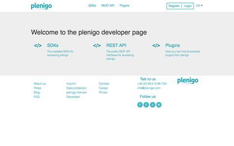 Screenshot of Developers Page plenigo.com - Welcome to the plenigo developer page - captured Feb. 2, 2016