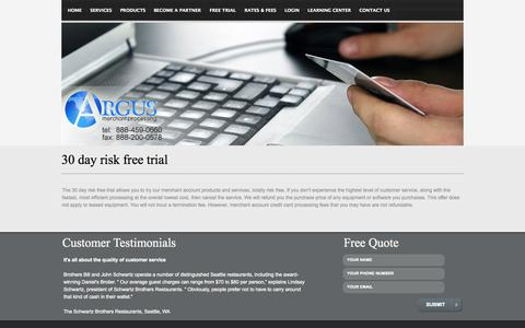 Screenshot of Trial Page argusinvision.com - Argus Merchant Services - 30 day risk free trial - captured Oct. 4, 2014
