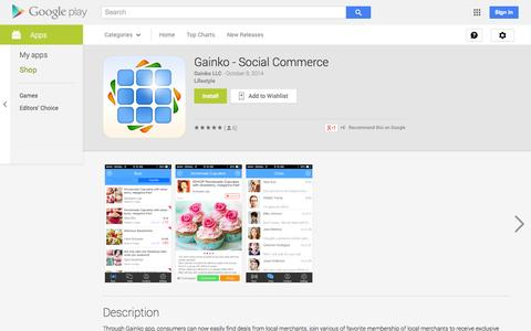 Screenshot of Android App Page google.com - Gainko - Social Commerce - Android Apps on Google Play - captured Oct. 22, 2014