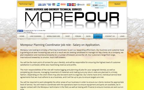Screenshot of Jobs Page morepour.com - Morepour Brewery Technical Services and Draught Beer Equipment Supply | JOBS - captured Dec. 22, 2016