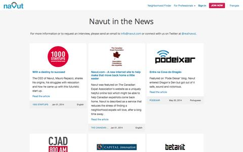 Screenshot of Press Page navut.com - Navut in the News | Press coverage, articles, podcast and video interviews - captured Nov. 4, 2014