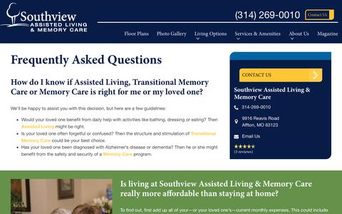 Screenshot of FAQ Page spectrumretirement.com - FAQs | Southview Assisted Living & Memory Care - captured Jan. 31, 2018