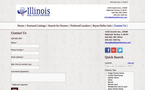 Screenshot of Contact Page illinoisrealestatepartners.com - Contact Us - captured Aug. 5, 2016