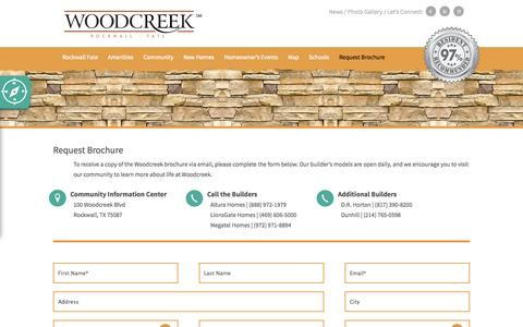 Screenshot of Signup Page woodcreekrockwall.com - Request Brochure | Contact | Request Information | WoodCreek Rockwall, Texas | WoodCreek Rockwall - captured Oct. 9, 2014