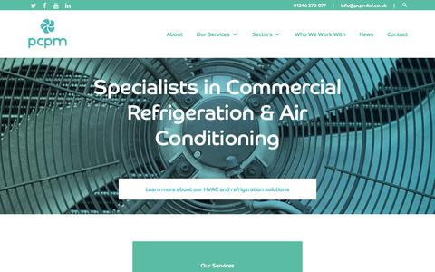Screenshot of Home Page pcpmltd.co.uk - Air Conditioning Services Chesterfield | Refrigerator Services - PCPM LTD - captured Sept. 27, 2018