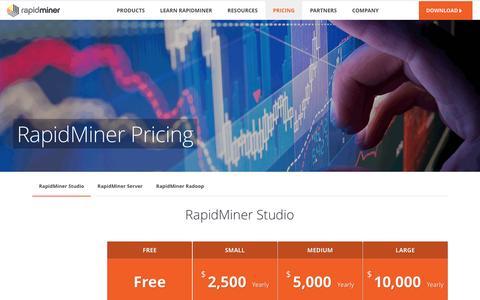 Screenshot of Pricing Page rapidminer.com - RapidMiner Pricing | RapidMiner - captured Aug. 18, 2016
