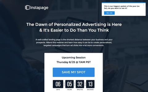 Screenshot of instapage.com - Your Guide to Digital Advertising Personalization - captured Aug. 19, 2016