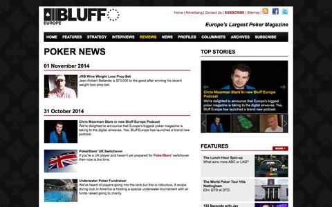 Screenshot of Press Page bluffeurope.com - Poker News » Bluffeurope Magazine - captured Nov. 3, 2014
