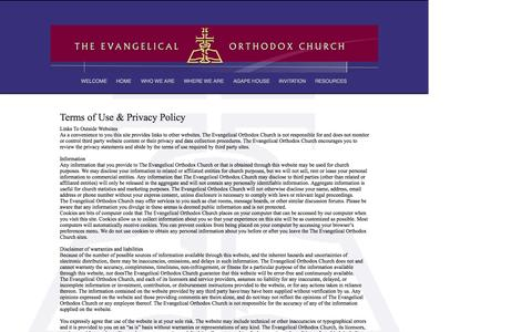 Screenshot of Terms Page evangelicalorthodox.org - www.evangelicalorthodox.org   Terms of Use - captured April 7, 2017
