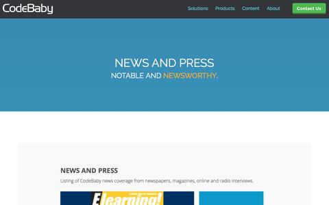 Screenshot of codebaby.com - CodeBaby News Articles and Press Releases - captured March 19, 2016