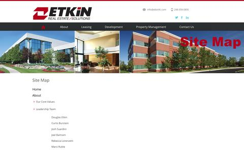 Screenshot of Site Map Page etkinllc.com - Etkin Real Estate Solutions - captured Jan. 31, 2016