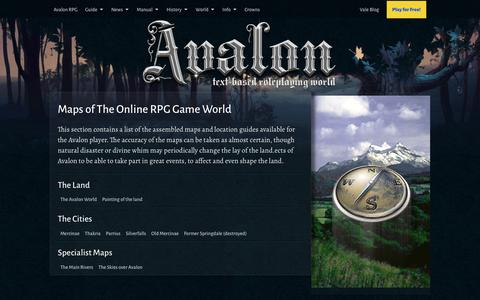 Screenshot of Maps & Directions Page avalon-rpg.com - Maps of The Online RPG Game World | Text RPG - captured Oct. 4, 2018