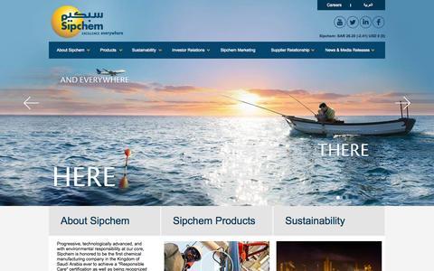 Screenshot of Home Page sipchem.com - Sipchem - A global chemical & petrochemical manufacturing company, headquartered in Saudi Arabia. - captured Aug. 2, 2015