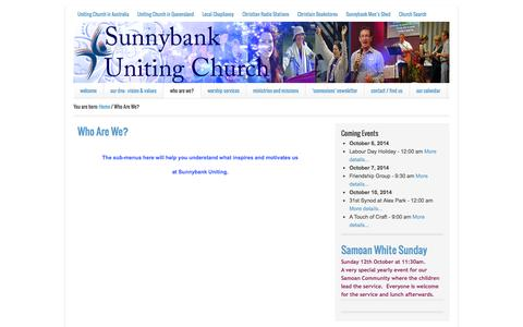 Screenshot of About Page sunnybankuc.org.au - What we believe — Sunnybank Uniting Church - captured Oct. 7, 2014