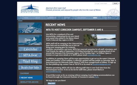 Screenshot of Press Page mita.org - Recent News   Maine Island Trail Association - captured Oct. 1, 2014