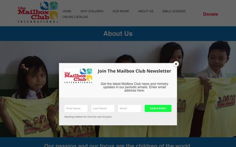 Screenshot of About Page mailboxclub.org - ABOUT   The Mailbox Club - captured Nov. 10, 2017