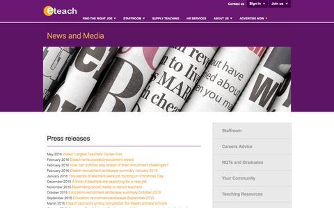 Screenshot of Press Page eteach.com - Eteach   News and Media - captured July 16, 2016