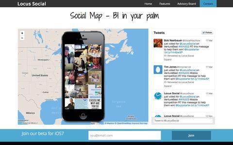 Screenshot of Home Page locussocial.com - Social Map - Locus Social - captured Oct. 2, 2014