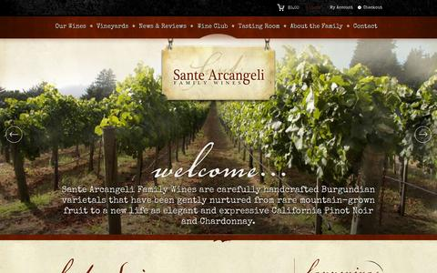 Screenshot of Home Page santewinery.com - Home - Sante Arcangeli Family Wines - Corralitos Pinot Noir and Chardonnay - captured Oct. 3, 2014