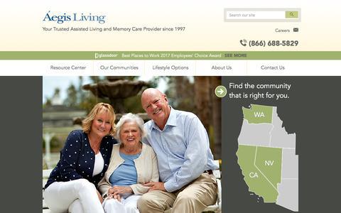 Screenshot of Home Page aegisliving.com - Home   Aegis Living - captured May 29, 2017